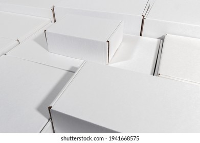 set of new blank white cardboard box different sizes