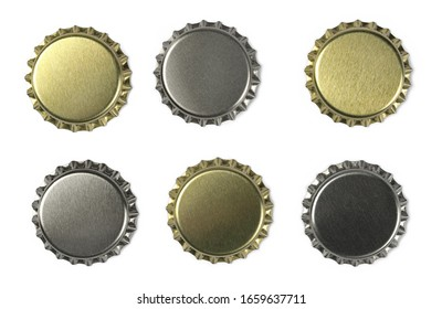 Set new bottle cap for beer isolated on white, top view, macro