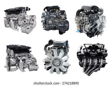 set of new car engine isolated on white background