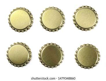 Set new golden bottle cap for beer isolated on white, top view, macro