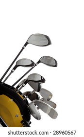A set of new golf clubs on a white background with copy space
