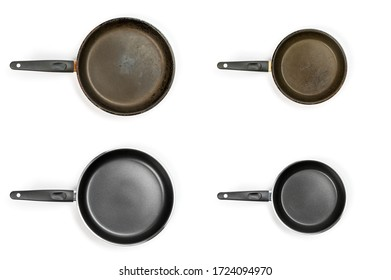 Set of new and old pans