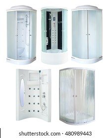 set of new shower cabins, isolated on white