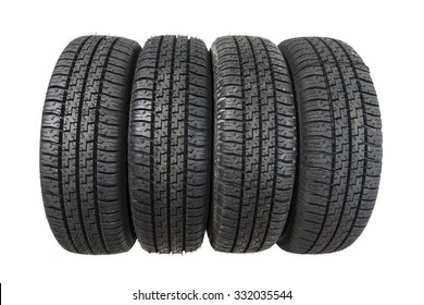 Set of new tires isolated on white background