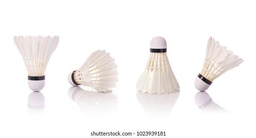 Set of new white shuttlecock. Studio shot isolated on white background