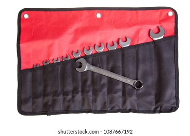 Set of new wrenches on fabric case