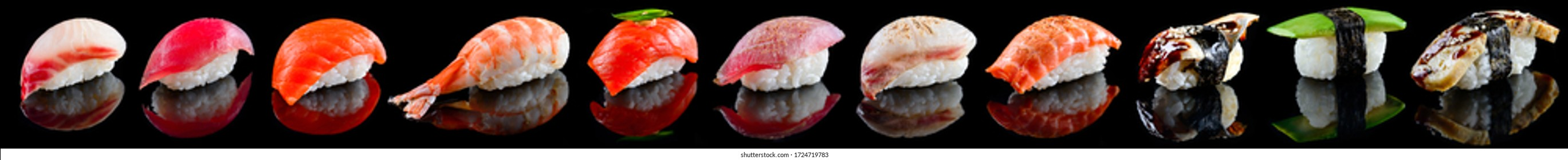 Set Nigiri sushi set with tuna, salmon, prawns, sea bass. sushi nigiri collection on Black background, reflection, high resolution