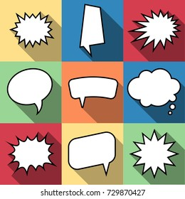 Set of nine cartoon comic balloon speech bubbles in flat style. Elements of design comic books without phrases.