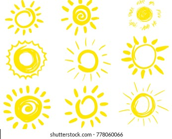 a set of nine drawings of the sun. illustration.