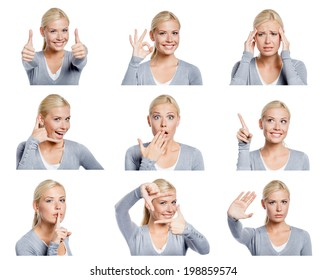Set of nine pictures of pretty young woman with different gestures and emotions, isolated on white