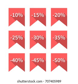 A set of nine red labels discounts of ten to fifty percent in steps of five, long diagonal shadow and flat style