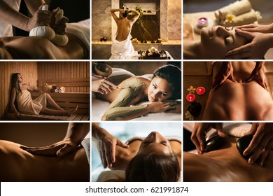 Set of nine SPA photos with different treatments.