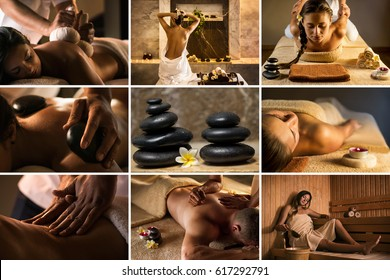Set of nine SPA photos: massage with herbal balls, stone therapy, anti stress massage, deep tissue massage, sauna, hammam, thai massage, etc