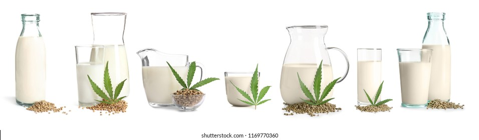 Set with non-dairy vegan hemp milk on white background
