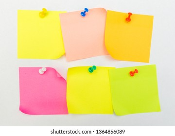 set of Note with a paper clip. Isolated on a white background - Image