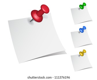 set of note papers with push pins on white background.