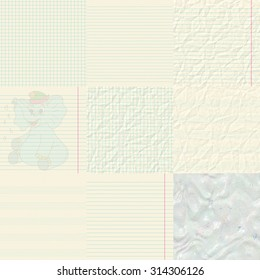 Set of notepaper generated textures