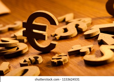 Set of numbers and currency symbols