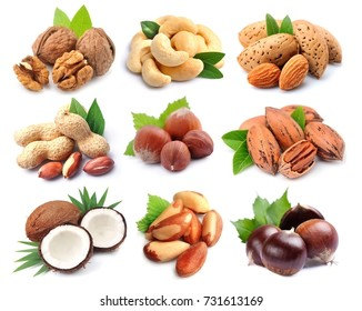 Set of nuts isolated on white backgrounds. Collage of nuts.