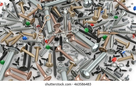 Set of nuts, screws, bolts, screws, washers and fastening on a white background. 3d illustration