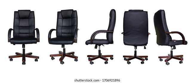 set of Office chair or desk chair isolated on white background in various points of view. Armchair or stool in front, back, side angles. Furniture for Interior design. black office chair