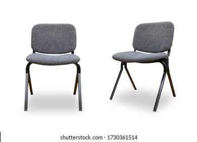 Set of office grey chair isolated on white background