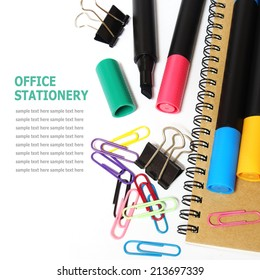 Set of office stationery isolated on white
