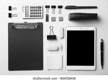 Set of office stationery isolated on a white background, top view