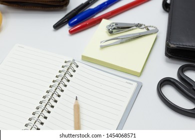 Set of office supplies for work with white background