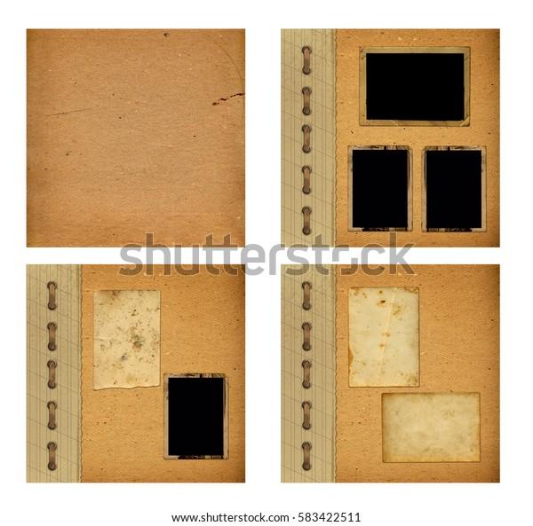 Set of old albums with paper vintage frames for design