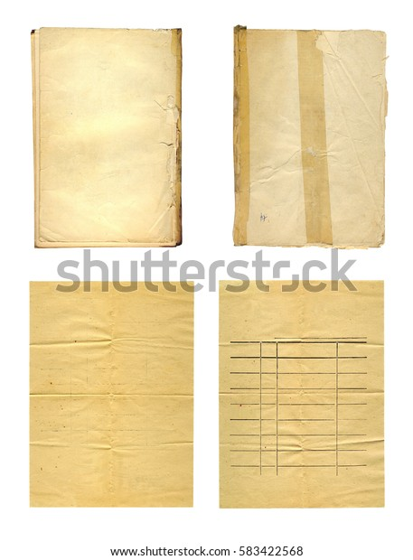 Set the old  ancient crumpled paper isolated on white background