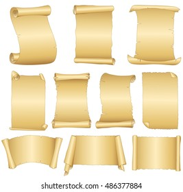 Set of old blank scrolls paper on white background