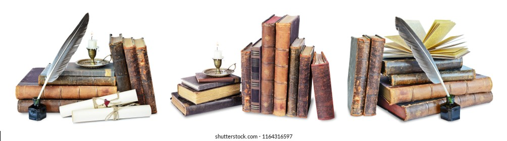 Set of old books, candle in candlestick, feather in inkpot and scroll with stamp, isolated on black background
