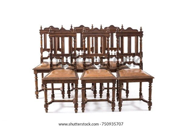 Set Old Fashioned Wood Chairs On Stock Photo Edit Now 750935707