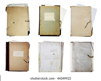 set of old folders with stack of papers isolated on white background with clipping path