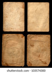 Set of old grunge papers on a black background