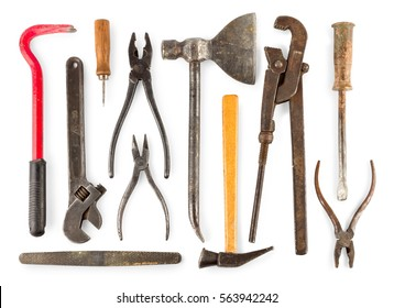 set of old home worker articles tools, isolated on a white background