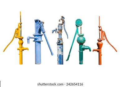 Set of old manual water pump isolated on white