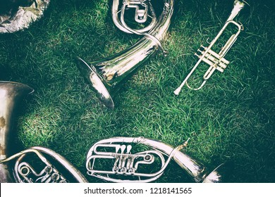 Set of old musical instruments. Brass orchestra tenor or baritone or trumpet on the green grass in the city park.