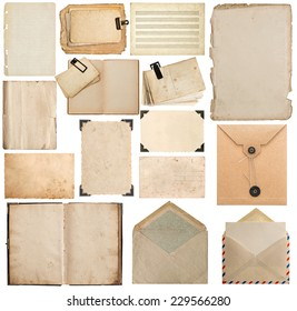 set of old paper, book, page, cardboard, envelope, photo frame with corner isolated on white background