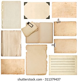 Set of old paper sheet, bookpage, cardboard, photo frame with corner isolated on white background