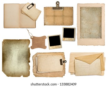 set of old paper sheets, book, pages, cards isolated on white background