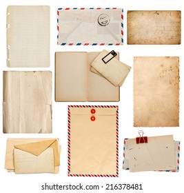 set of old paper sheets, book, envelope, card isolated on white background