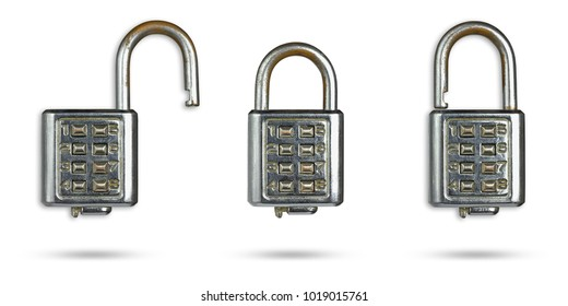 Set of  old password key lock placed on isolate white background with clipping path.