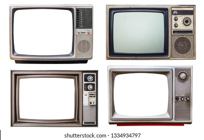 set of old retro color bronze  and wooden home TV receiver isolated on white background,mix vintage television