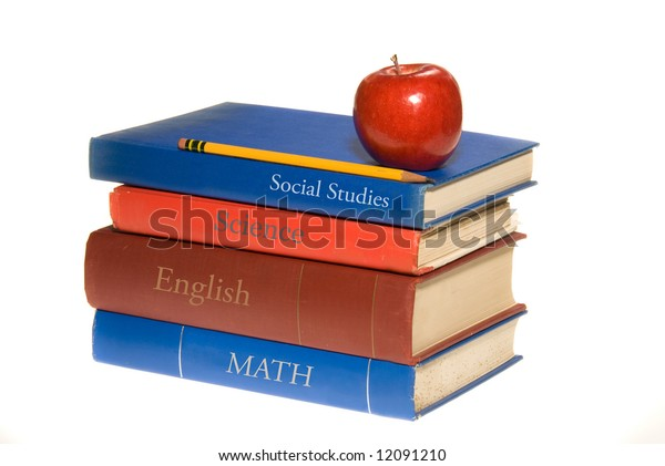 A set of old school books shown with a symbolic apple for the teacher.