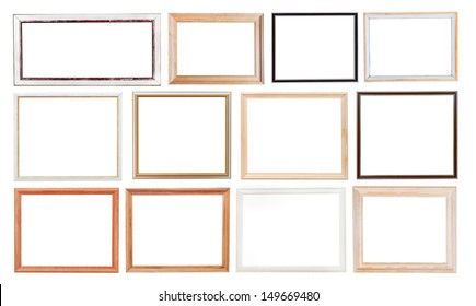 set of old simple picture frames with cutout canvas isolated on white background