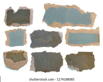 Set old, torn paper isolated on white background, clipping path