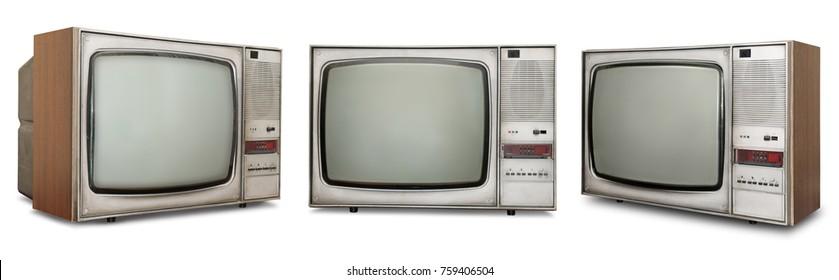 Set of old TVs isolated on white background.