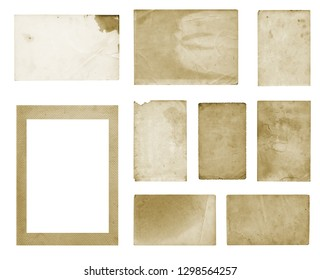 Set of old vintage dirty photo postcards on white isolated background